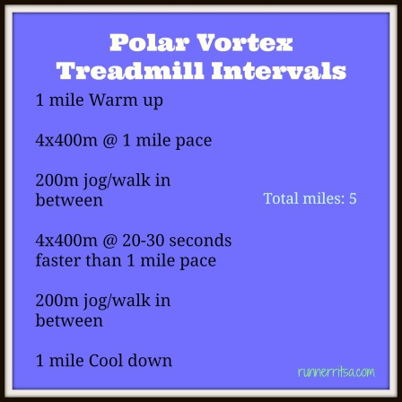 polar vortex treadmill intervals
